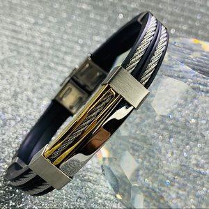 Blackjack Stainless Steel and Rubber Bracelet